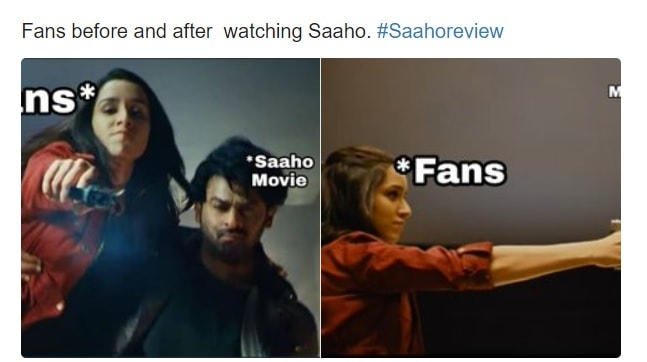 fans before and after waching movie saahoo in cinemas