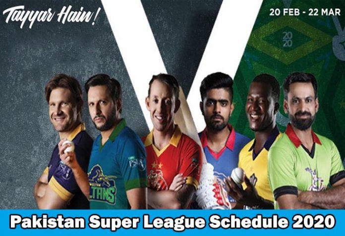 Pakistan Super League Schedule 2020 – Teams, Players