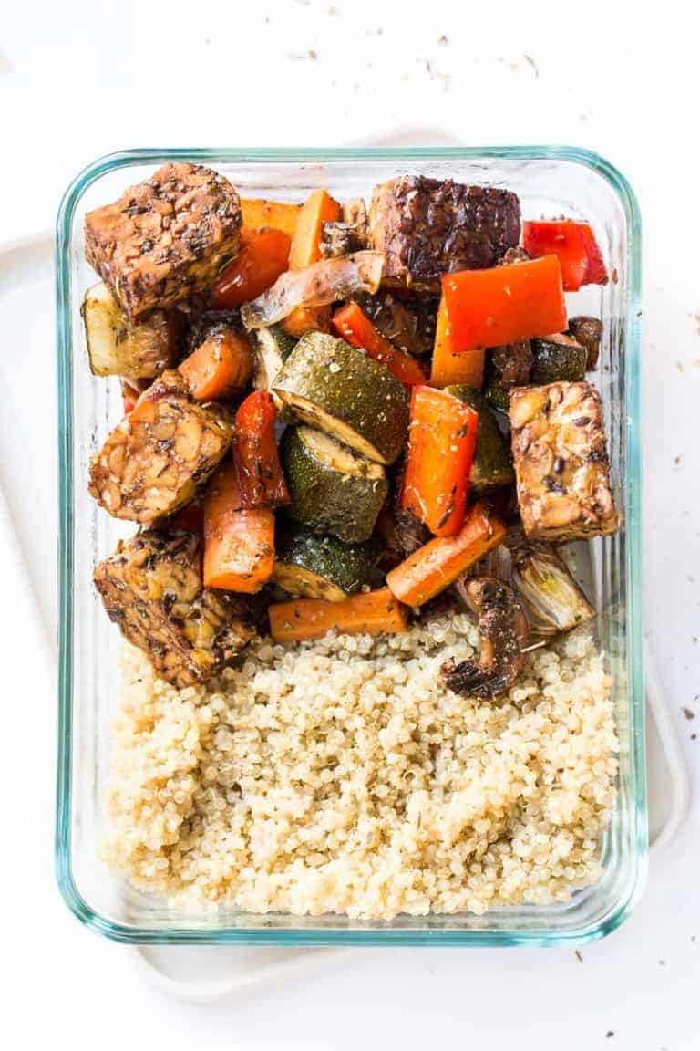 Balsamic Tempeh and Roasted Vegetable Quinoa Bowls